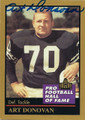 ART DONOVAN BALTIMORE COLTS AUTOGRAPHED FOOTBALL CARD #122315G