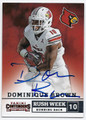 DOMINIQUE BROWN UNIVERSITY OF LOUISVILLE AUTOGRAPHED ROOKIE FOOTBALL CARD #10416K