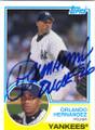 ORLANDO HERNANDEZ NEW YORK YANKEES AUTOGRAPHED BASEBALL CARD #10816J