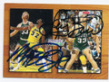 MAGIC JOHNSON & LARRY BIRD DOUBLE AUTOGRAPHED BASKETBALL CARD #11016K