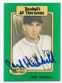 CARL HUBBELL NEW YORK GIANTS AUTOGRAPHED VINTAGE BASEBALL CARD #11516B