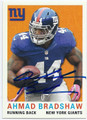 AHMAD BRADSHAW NEW YORK GIANTS AUTOGRAPHED FOOTBALL CARD #12016B