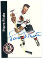 PIERRE PILOTE CHICAGO BLACKHAWKS AUTOGRAPHED HOCKEY CARD #12016C