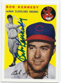 BOB KENNEDY CLEVELAND INDIANS AUTOGRAPHED BASEBALL CARD #12216D