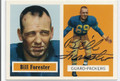 BILL FORESTER GREEN BAY PACKERS AUTOGRAPHED FOOTBALL CARD #12216E