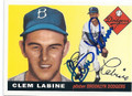 CLEM LABINE BROOKLYN DODGERS AUTOGRAPHED BASEBALL CARD #12816L