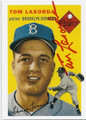 TOM LASORDA BROOKLYN DODGERS AUTOGRAPHED BASEBALL CARD #13016G