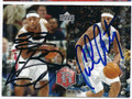 LeBRON JAMES & CARMELO ANTHONY DOUBLE AUTOGRAPHED BASKETBALL CARD #20216J