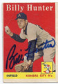 BILLY HUNTER KANSAS CITY ATHLETICS AUTOGRAPHED VINTAGE BASEBALL CARD #20316E