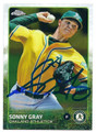 SONNY GRAY OAKLAND ATHLETICS AUTOGRAPHED BASEBALL CARD #20416J