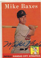 MIKE BAXES KANSAS CITY ATHLETICS AUTOGRAPHED VINTAGE ROOKIE BASEBALL CARD #20616J