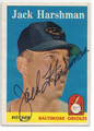 JACK HARSHMAN BALTIMOREORIOLES AUTOGRAPHED VINTAGE BASEBALL CARD #20716K