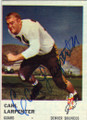 CARL LARPENTER DENVER BRONCOS AUTOGRAPHED VINTAGE FOOTBALL CARD #21016i