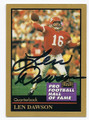 LEN DAWSON KANSAS CITY CHIEFS QUARTERBACK AUTOGRAPHED HALLOF FAME FOOTBALL CARD #21216H
