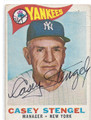 CASEY STENGEL NEW YORK YANKEES AUTOGRAPHED VINTAGE BASEBALL CARD #30816A