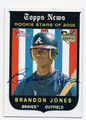 BRANDON JONES ATLANTA BRAVES AUTOGRAPHED ROOKIE BASEBALL CARD #32116F