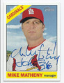 MIKE MATHENY ST LOUIS CARDINALS AUTOGRAPHED BASEBALL CARD #32216E