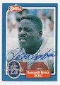 ROOSEVELT BROWN NEW YORK GIANTS AUTOGRAPHED VINTAGE FOOTBALL CARD #32816A
