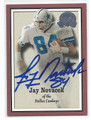 JAY NOVACEK DALLAS COWBOYS AUTOGRAPHED FOOTBALL CARD #33116F