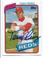TONY PEREZ CINCINNATI REDS AUTOGRAPHED BASEBALL CARD #41216D