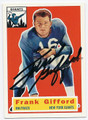 FRANK GIFFORD NEW YORK GIANTS AUTOGRAPHED  FOOTBALL CARD #42716C