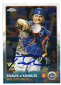 TRAVIS d'ARNAUD NEW YORK METS AUTOGRAPHED BASEBALL CARD #42916B