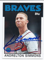 ANDRELTON SIMMONS ATLANTA BRAVES AUTOGRAPHED BASEBALL CARD #51016D