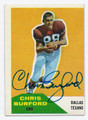 CHRIS BURFORD DALLAS TEXANS AUTOGRAPHED VINTAGE ROOKIE FOOTBALL CARD #51616A