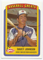 DAVEY JOHNSON ATLANTA BRAVES AUTOGRAPHED BASEBALL CARD #51816E