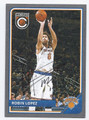 ROBIN LOPEZ NEW YORK KNICKS AUTOGRAPHED BASKETBALL CARD #52116E
