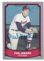 PHIL NIEKRO MILWAUKEE BRAVES AUTOGRAPHED BASEBALL CARD #53016D