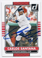 CARLOS SANTANA CLEVELAND INDIANS AUTOGRAPHED BASEBALL CARD #60516E