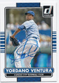 YORDANO VENTURA KANSAS CITY ROYALS AUTOGRAPHED BASEBALL CARD #60516F