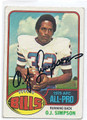 OJ SIMPSON BUFFALO BILLS AUTOGRAPHED VINTAGE FOOTBALL CARD #61416E