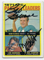 BOB GRIESE, LEN DAWSON & VIRGIL CARTER TRIPLE AUTOGRAPHED VINTAGE FOOTBALL CARD #61816D