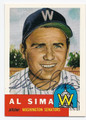 AL SIMA WASHINGTON SENATORS AUTOGRAPHED BASEBALL CARD #62216D