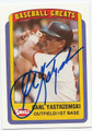 CARL YASTRZEMSKI BOSTON RED SOX AUTOGRAPHED BASEBALL CARD #62216F