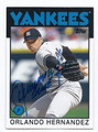 ORLANDO HERNANDEZ NEW YORK YANKEES AUTOGRAPHED BASEBALL CARD #70516B