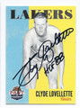 CLYDE LOVELLETTE LOS ANGELES LAKERS AUTOGRAPHED BASKETBALL CARD #71816B