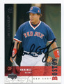 MANNY RAMIREZ BOSTON RED SOX AUTOGRAPHED BASEBALL CARD #72516B