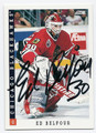 ED BELFOUR CHICAGO BLACKHAWKS AUTOGRAPHED HOCKEY CARD #73016F