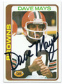 DAVE MAYS CLEVELAND BROWNS AUTOGRAPHED VINTAGE ROOKIE FOOTBALL CARD #80116D
