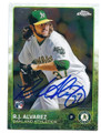 RJ ALVAREZ OAKLAND ATHLETICS AUTOGRAPHED ROOKIE BASEBALL CARD #80116E