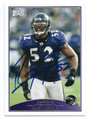 RAY LEWIS BALTIMORE RAVENS AUTOGRAPHED FOOTBALL CARD #91216D