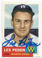 LES PEDEN WASHINGTON SENATORS AUTOGRAPHED BASEBALL CARD #91316C