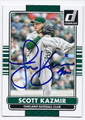 SCOTT KAZMIR OAKLAND ATHLETICS AUTOGRAPHED BASEBALL CARD #92816F