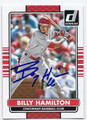 BILLY HAMILTON CINCINNATI REDS AUTOGRAPHED BASEBALL CARD #100316A