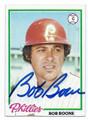 BOB BOONE PHILADELPHIA PHILLIES AUTOGRAPHED VINTAGE BASEBALL CARD #100616B