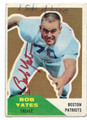 BOB YATES BOSTON PATRIOTS AUTOGRAPHED VINTAGE FOOTBALL CARD #100616D