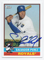 SALVADOR PEREZ KANSAS CITY ROYALS AUTOGRAPHED BASEBALL CARD #100616E